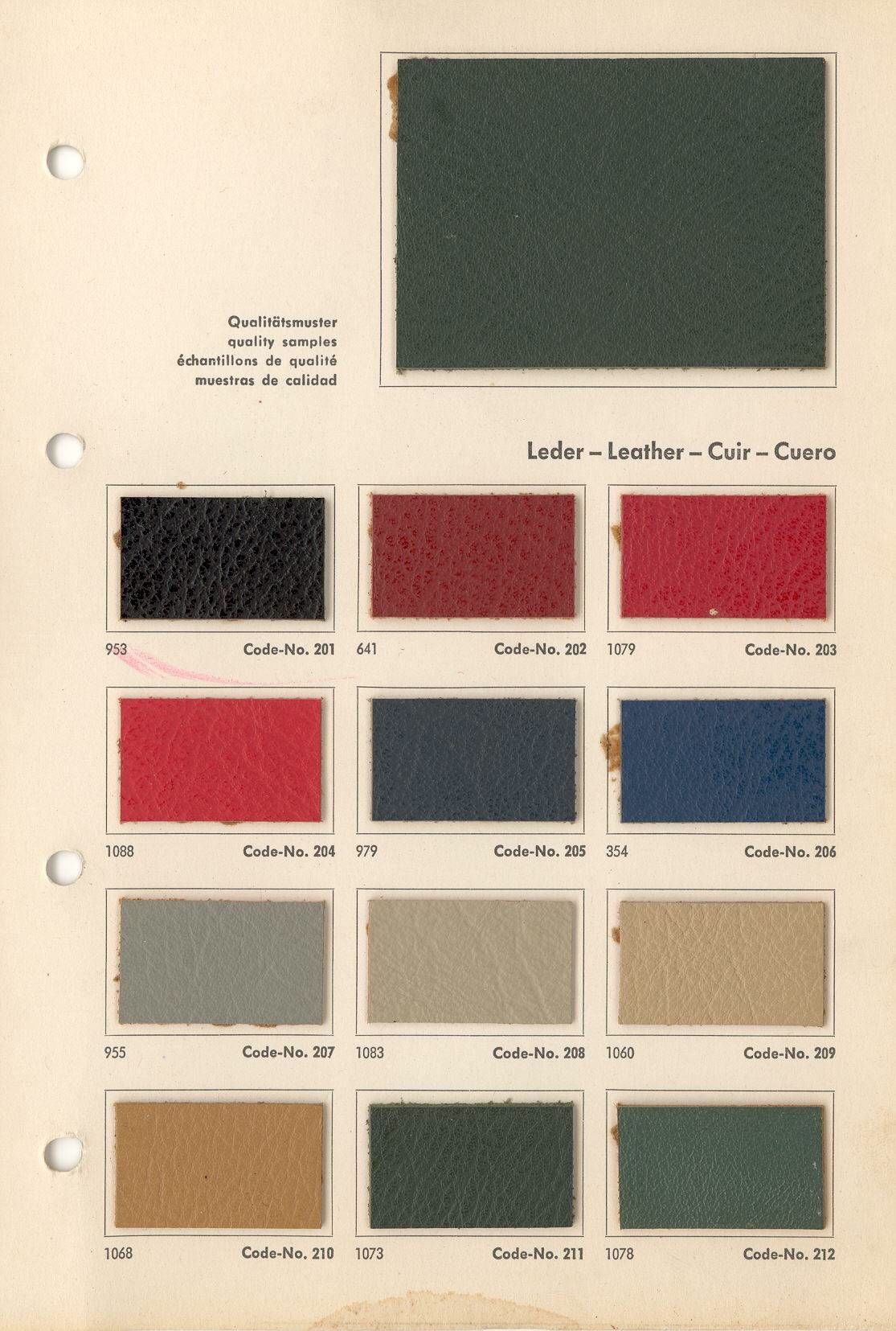 Roser Leather color samples
